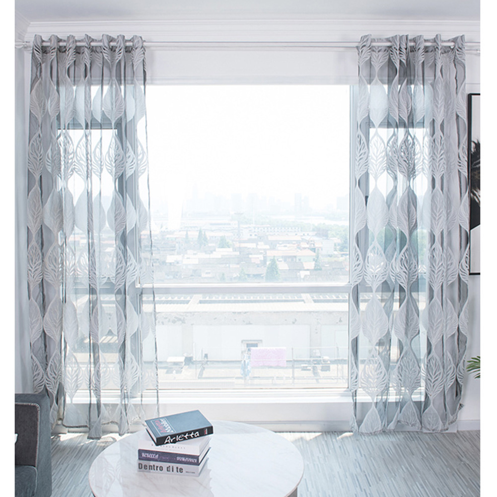 100*250cm Tulle Curtain Leaf Print Perforated Drapes for Home Living Room Balcony Decoration gray_100*250cm (W*H)