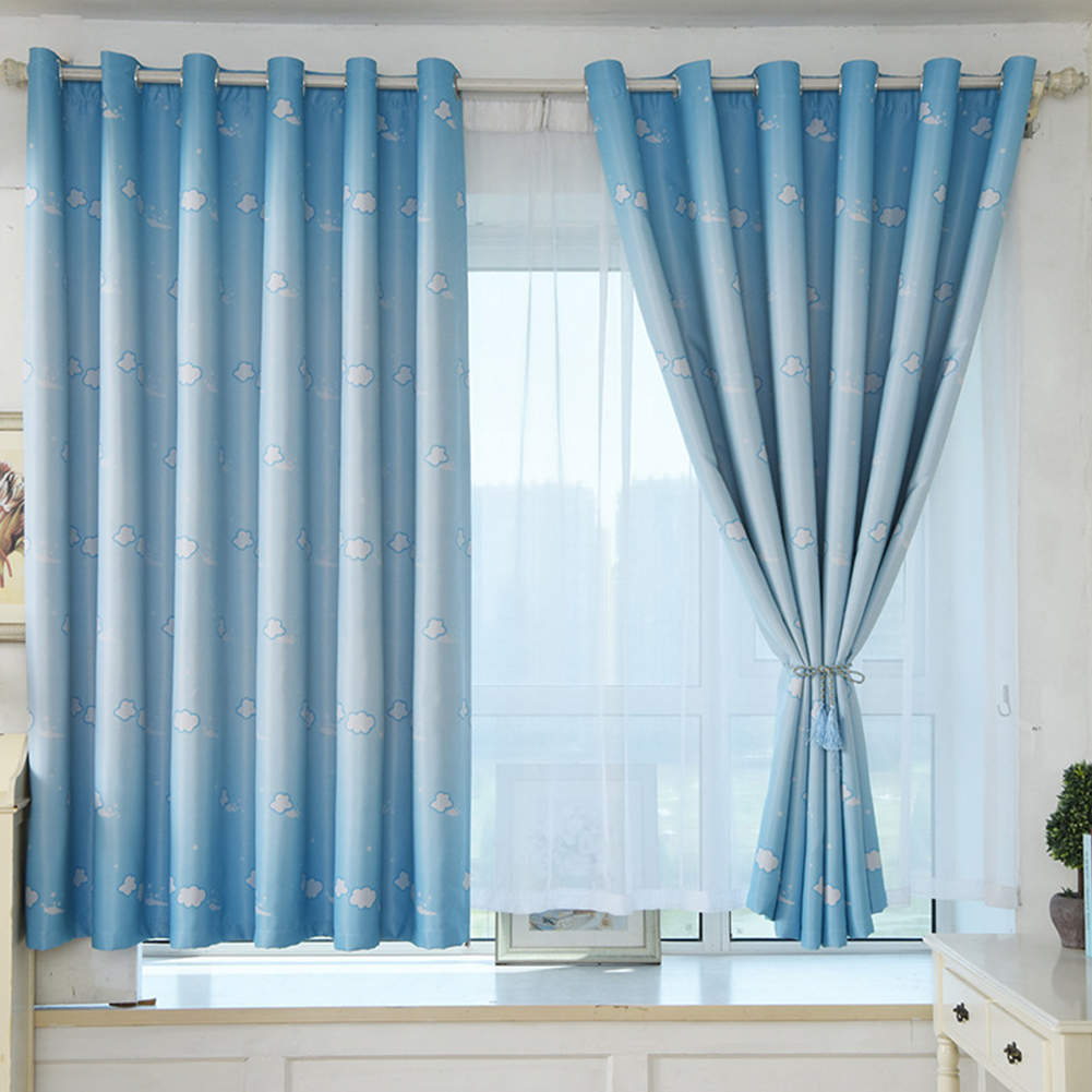 100*200cm Blackout Curtain Cloud Print Perforated Drapes for Home Bedroom Balcony Decoration blue_100*200cm (W*H)