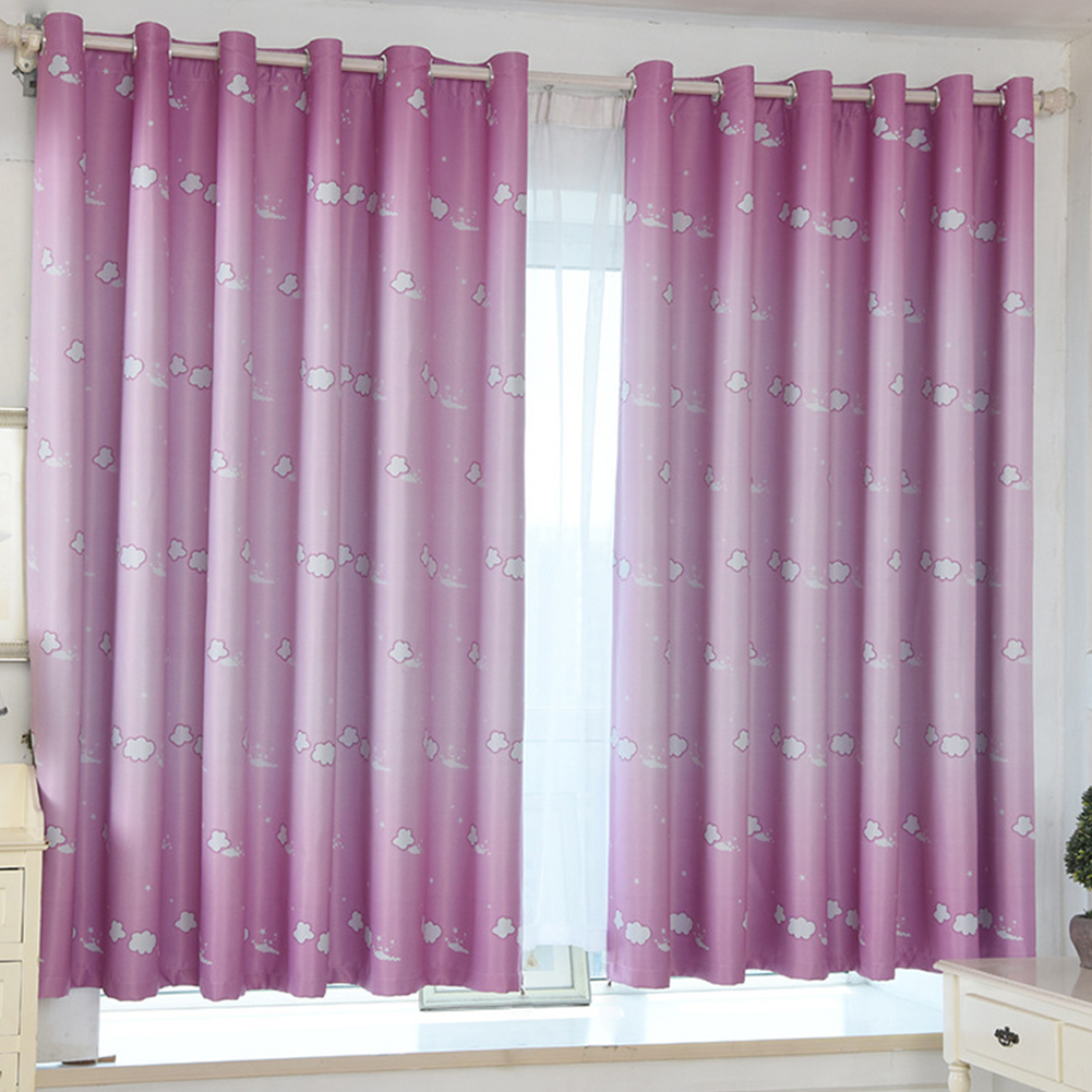 100*200cm Blackout Curtain Cloud Print Perforated Drapes for Home Bedroom Balcony Decoration Pink_100*200cm (W*H)