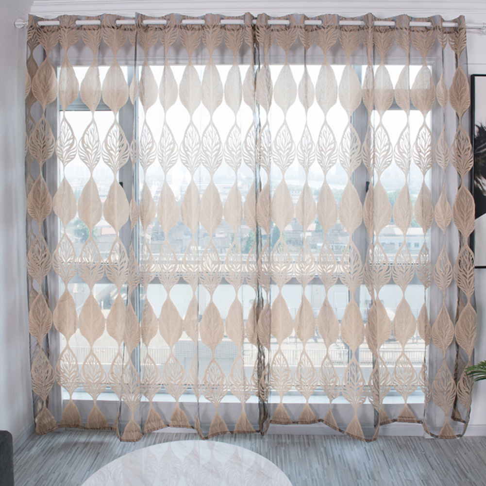 100*250cm Tulle Curtain Leaf Print Perforated Drapes for Home Living Room Balcony Decoration Coffee color_100*250cm (W*H)
