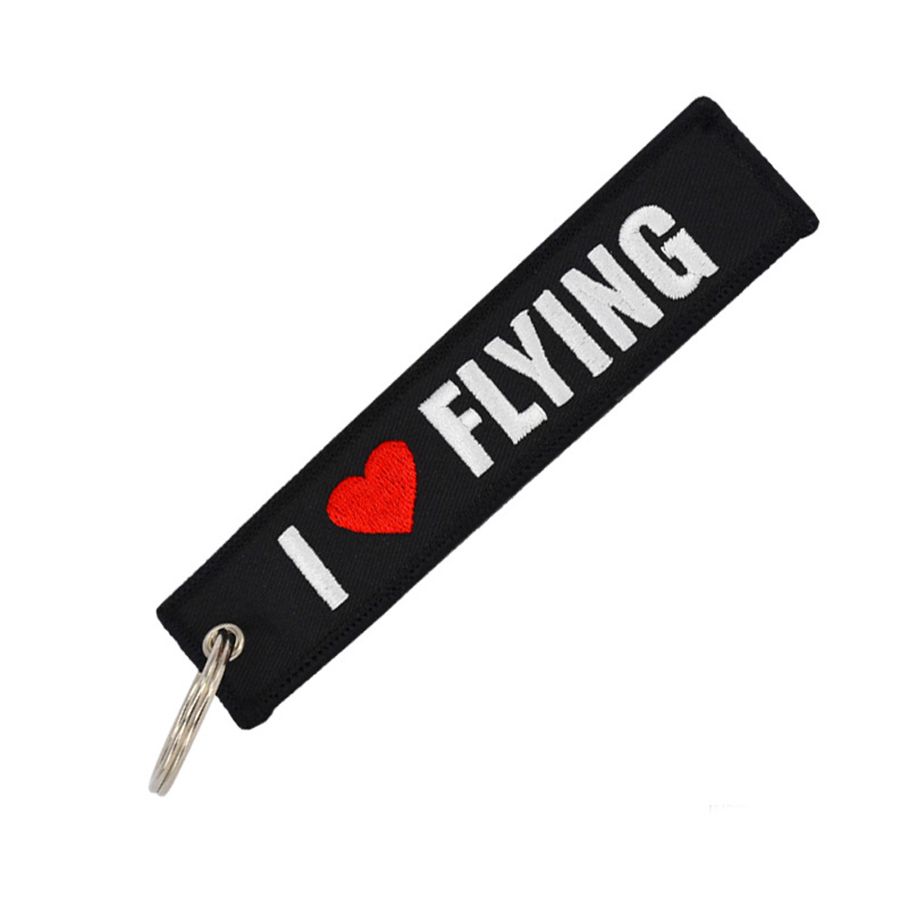 I Love Flying Keychain Embroidery Jewelry Key Ring Chain for Luggage Tags black and white_13*2.8CM