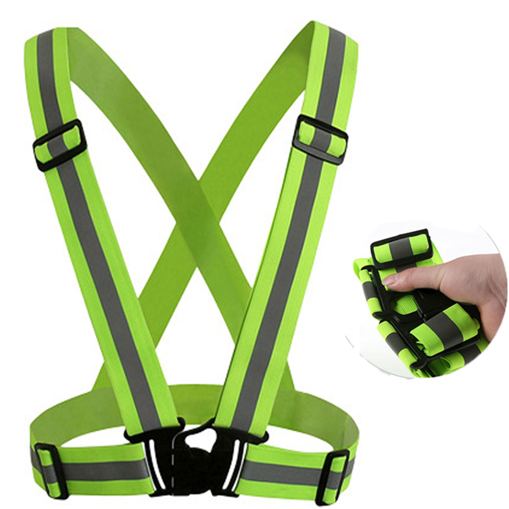 Unisex Outdoor Cycling Safety Vest Bike Ribbon Bicycle Light Reflecing Elastic Harness for Night Riding 118g 4cm fluorescent green