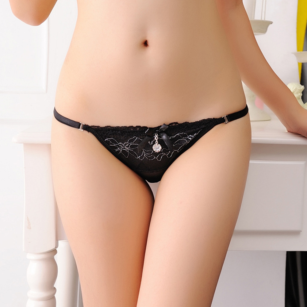 Women Lace Floral Erotic Briefs Elastic Sexy Underwear G-string Thong Temptation Panties Black_One size