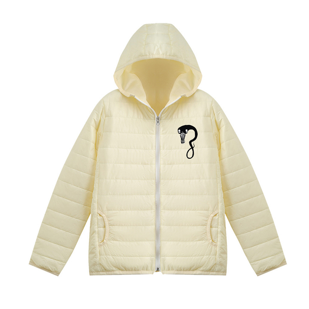 Thicken Short Padded Down Jackets Hoodie Cardigan Top Zippered Cardigan for Man and Woman White D_S
