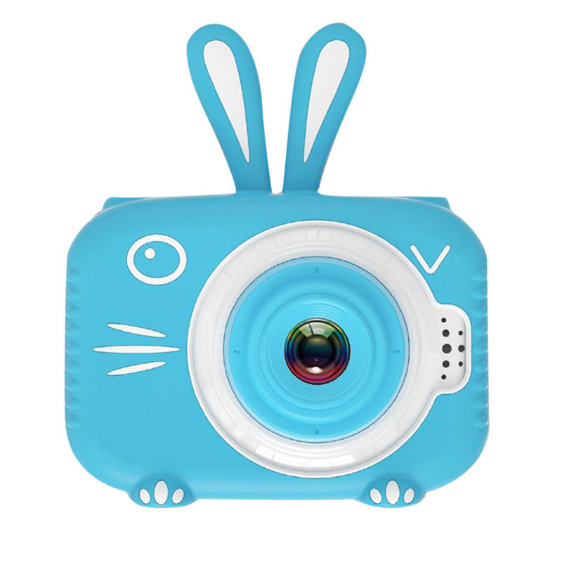 Hd Cartoon Rabbit Children Camera Digital Photo Childlike Mini Camera Blue single camera