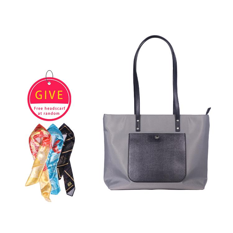 Women Fashion Single  Shoulder  Bag Simple Casual Large-capacity Drone Storage Bag Gray + silk scarf