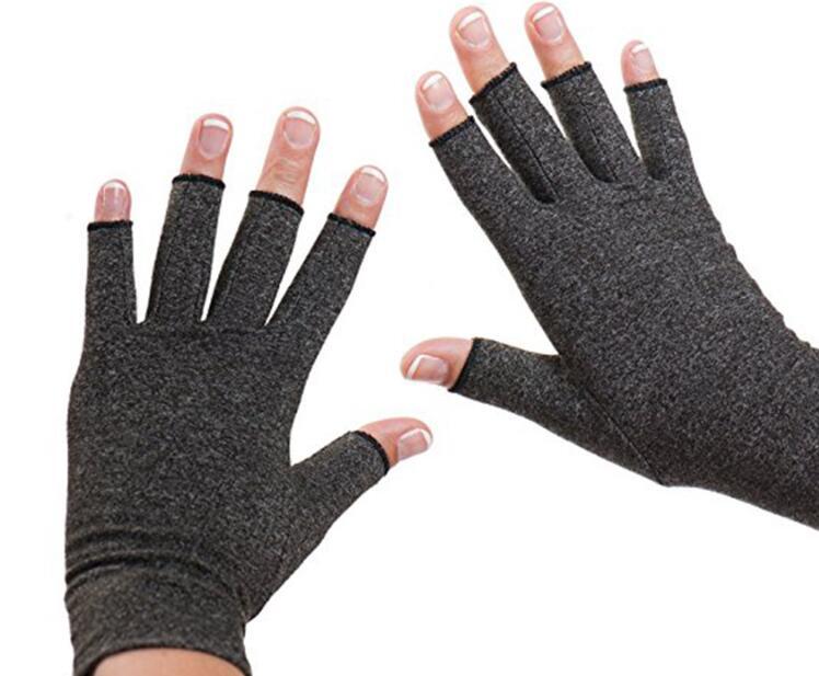 1 Pair High Elasticity Half-finger Gloves Rheumatism Reliver Arthritis Mittens Medical Auxiliary Hemp gray_M