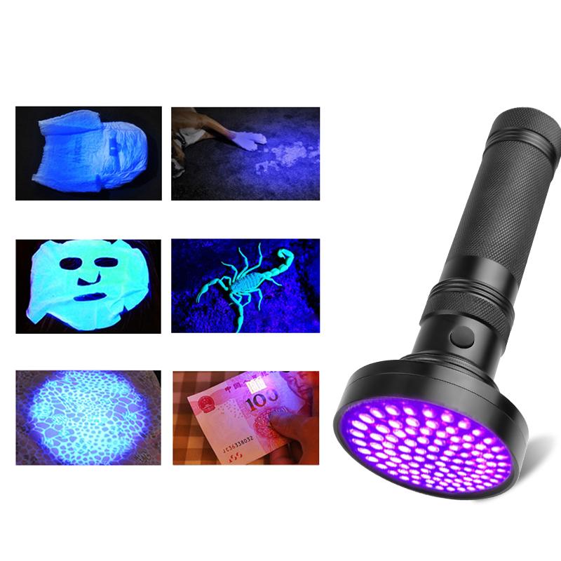 UV Light 100LEDs Flashlight Torch Light Safety Ultraviolet Detection Lamp black_Purple light