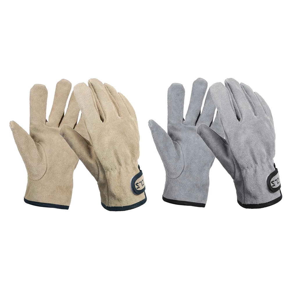Gloves For Bbq Grill Welding Work Heat Resistant Leather Oven Safety Gloves Khaki