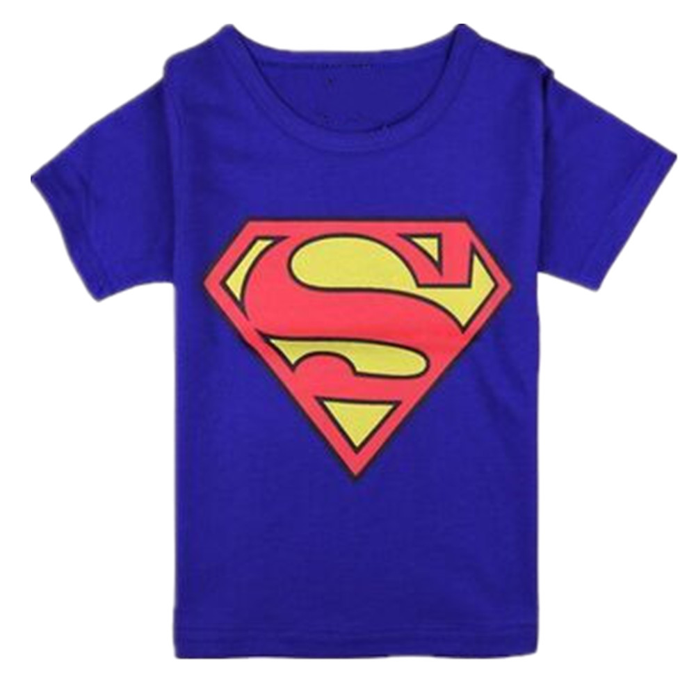 Baby Kid Cotton T-shirt Cartoon Superman Short Sleeve Crew Neck Tops for 2-8Y Boy Girl Navy blue_120cm