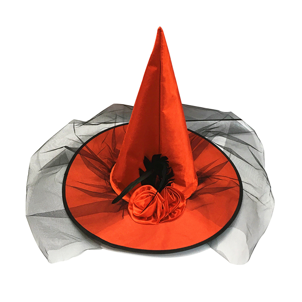 Adult Halloween Costume Ball Party Feather Rose Flower Tulle Veil Net Witch Cap Hat red