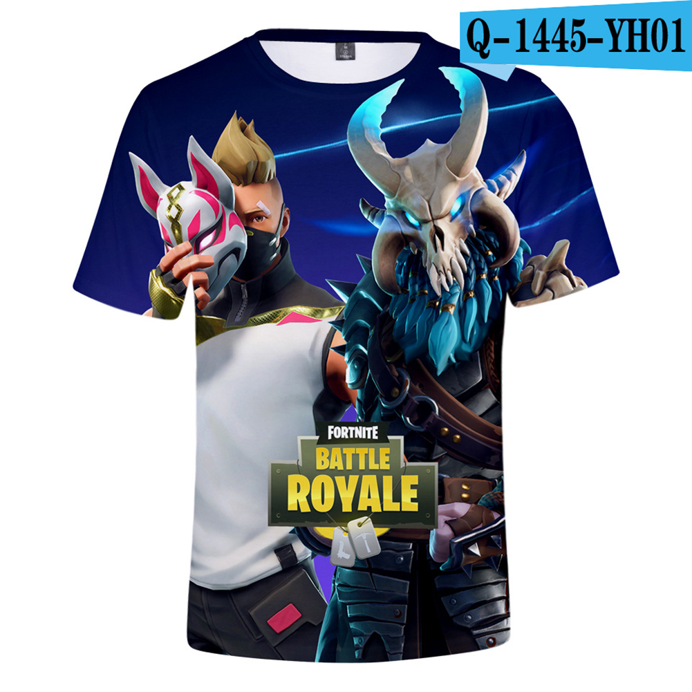Casual 3D Cartoon Pattern Round Neck T-shirt Picture color AI_XL
