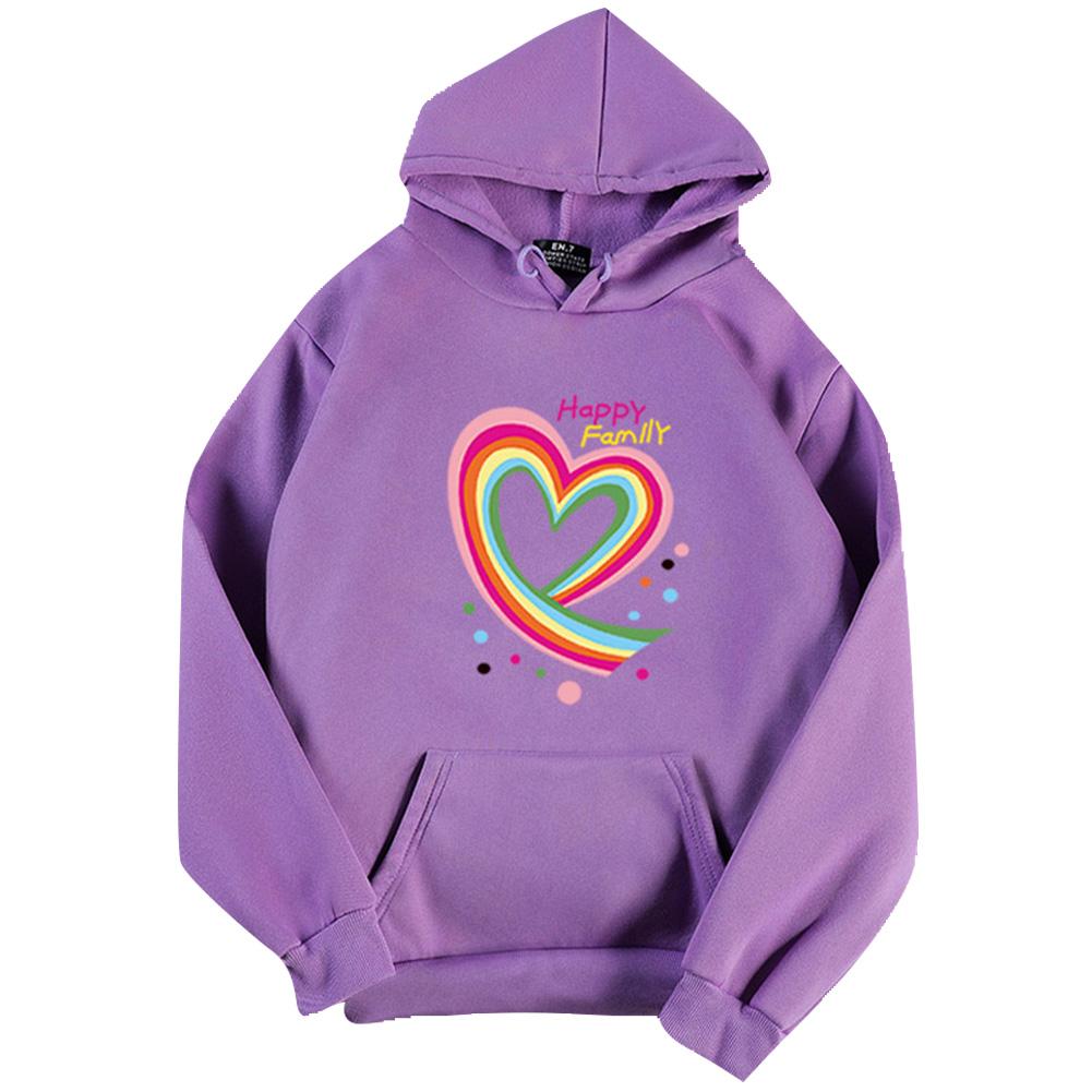 Men Women Hoodie Sweatshirt Happy Family Heart Loose Thicken Autumn Winter Pullover Tops Purple_L