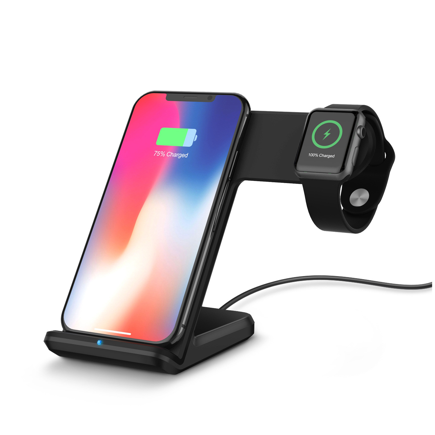 Wireless Charger Mobile Phone Watch 2 IN 1 Fast Quick Charge Dock Holder for Iphone for Apple Watch  black