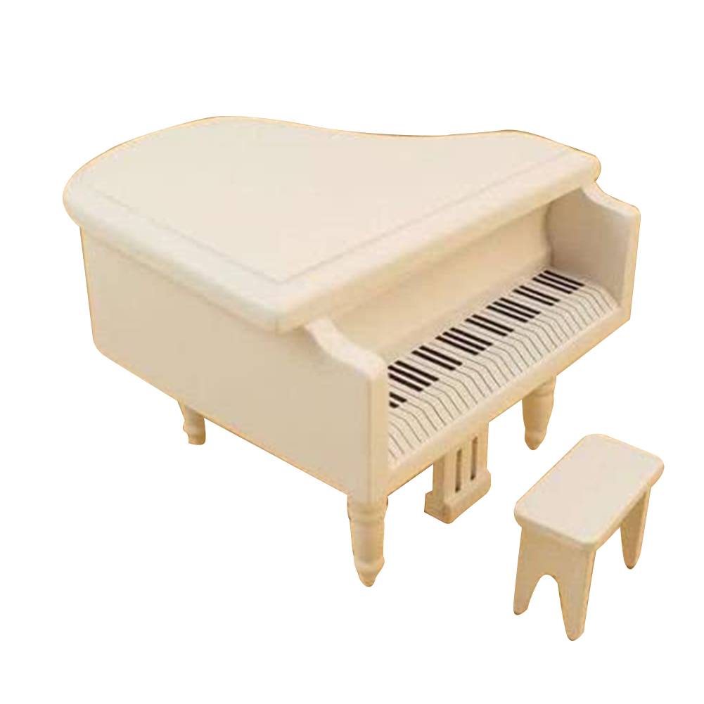 Miniature Mini Piano 1:12 Furniture With Chair For Dollhouse white
