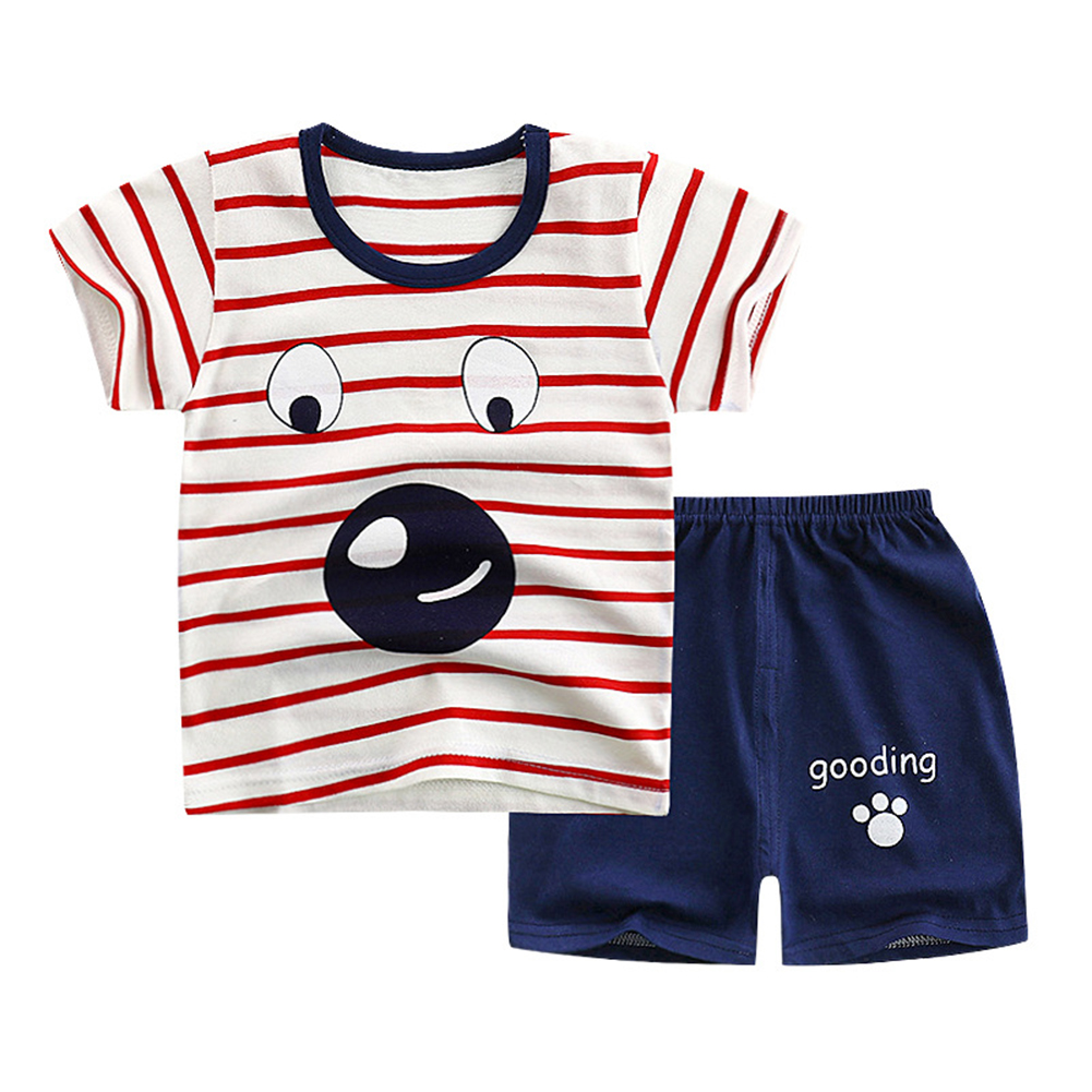 2Pcs/Set Kids Cartoon Pattern Short Sleeve Shirt Shorts Pyjama for Home Wear Red striped puppy_110cm