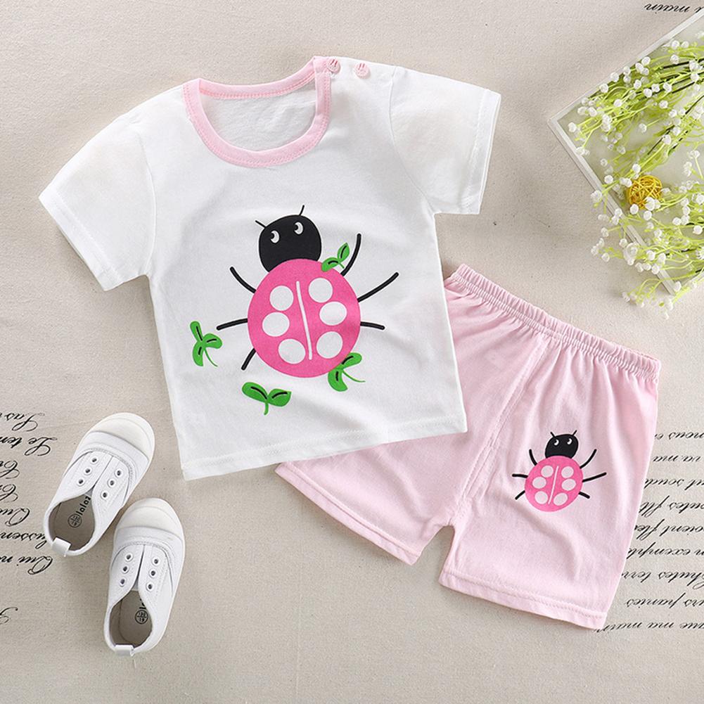 2Pcs/Set Kids Cartoon Pattern Short Sleeve Shirt Shorts Pyjama for Home Wear Chafer_100cm