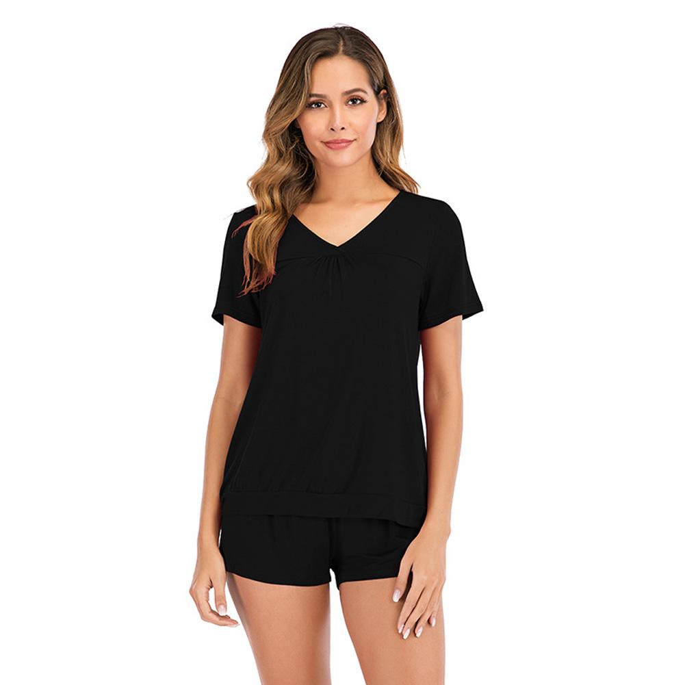 Women Shorts Pajama Set Short Sleeve Sleepwear Nightwear black_S
