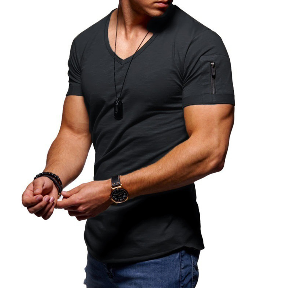 Men Youth Solid Color V Collar Elastic Short Sleeve T Shirt black_XL