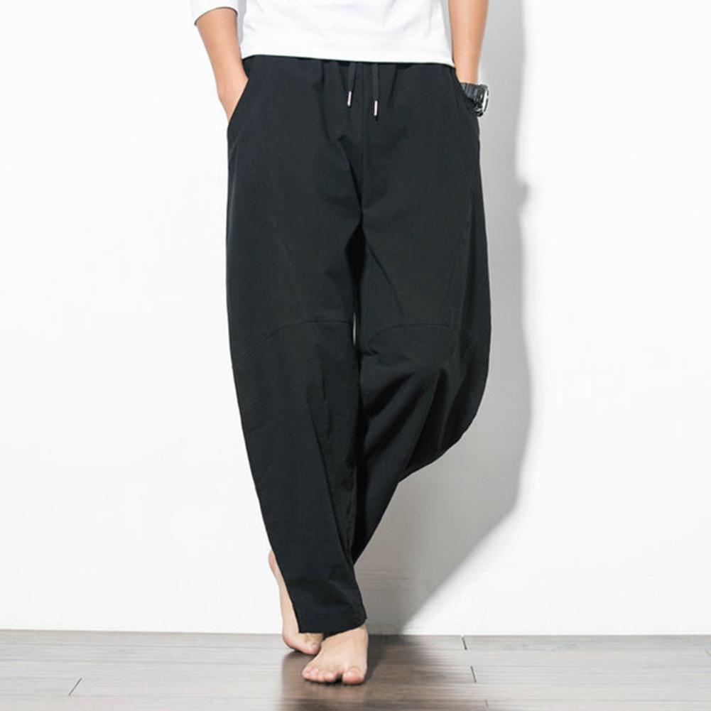 Men Casual Loose Harem Pants Drawstring Chinese Style Wide Leg Pants black_XL