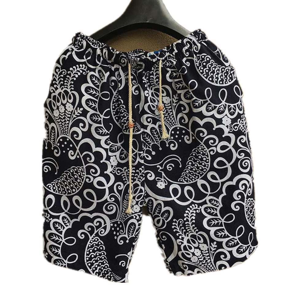 Men Summer Print Hawaii Loose Drawstring Short Pants Casual Beach Shorts   E _L