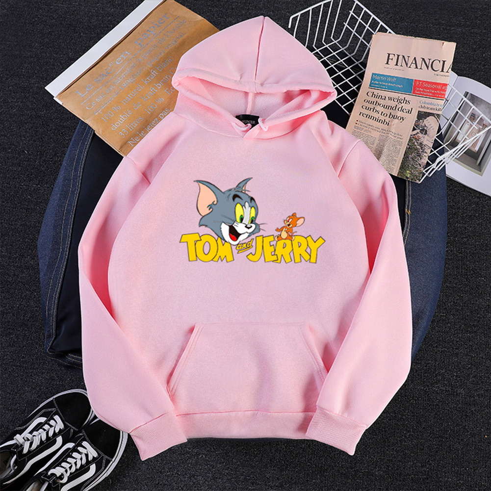 Men Women Hoodie Sweatshirt Tom and Jerry Thicken Velvet Loose Autumn Winter Pullover Tops Pink_XXL