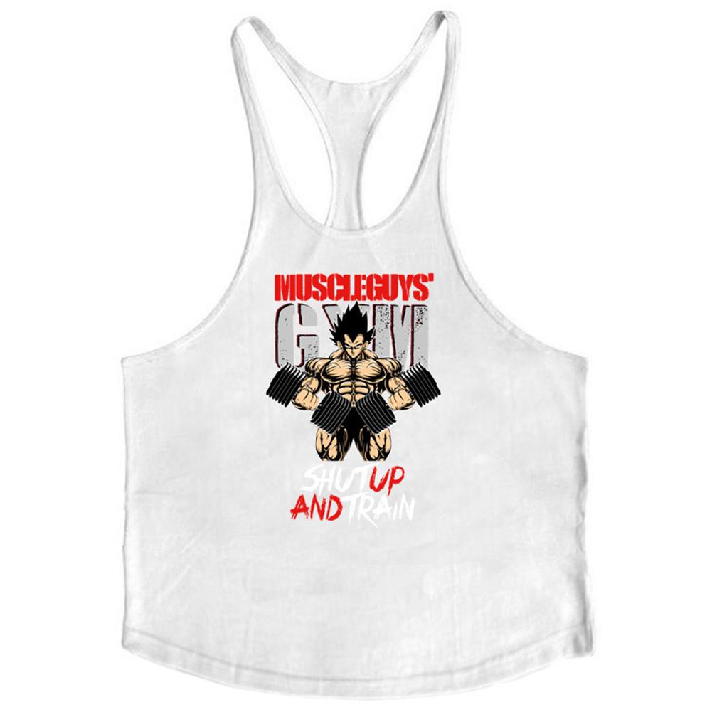 Men Muscle Bodybuilding Shirt Breathable Fitness Sport Vest white_M