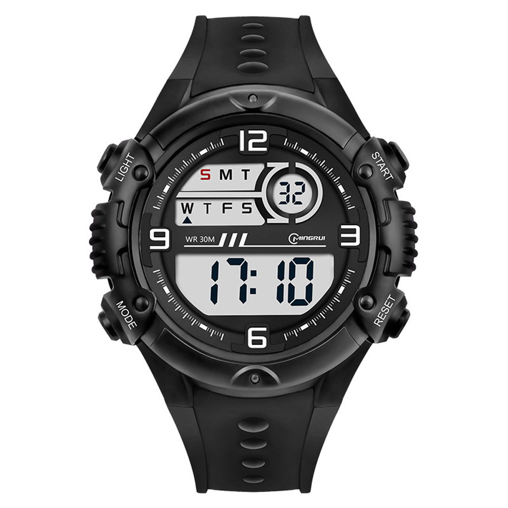 Students Electronic Watch Sports Fashion Simple Wristwatches Multi-functional Watch black