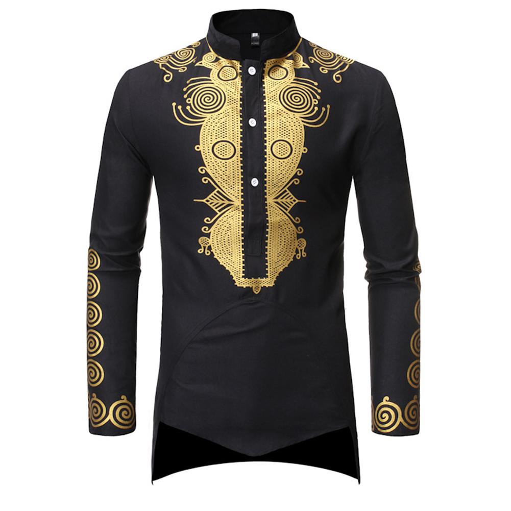 Men Long Sleeve Shirts Gilding Pattern Stand Collar Slim Shirts  black_2XL