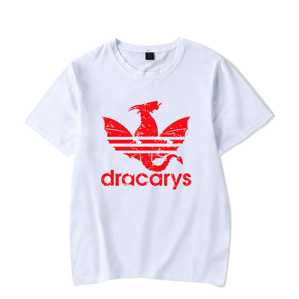 Men Women Casual All-match Dracarys Game Of Thrones Mother of Dragon Summer Short Sleeve T Shirts White F_XL