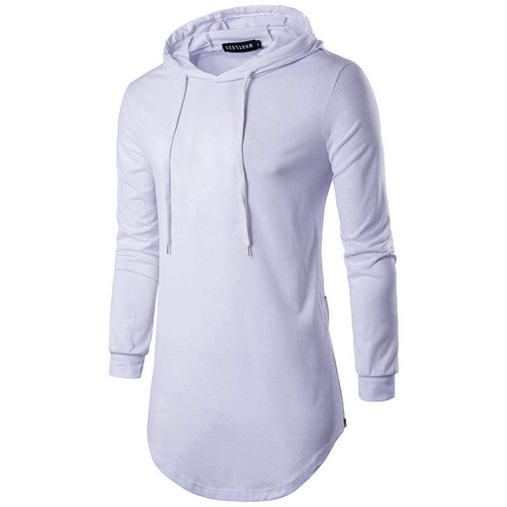 Unisex Fashion Hoodies Pure Color Long-sleeved T-shirt white_XXL