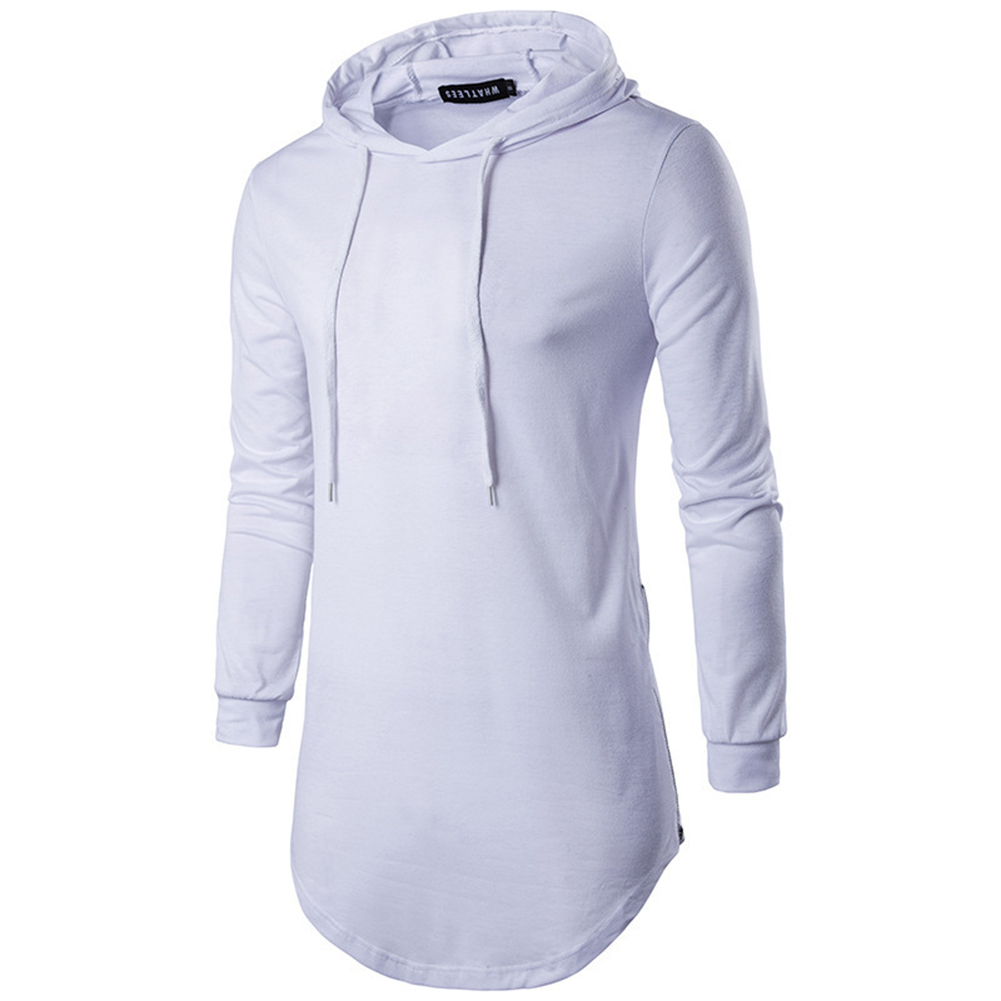 Unisex Fashion Hoodies Pure Color Long-sleeved T-shirt white_L