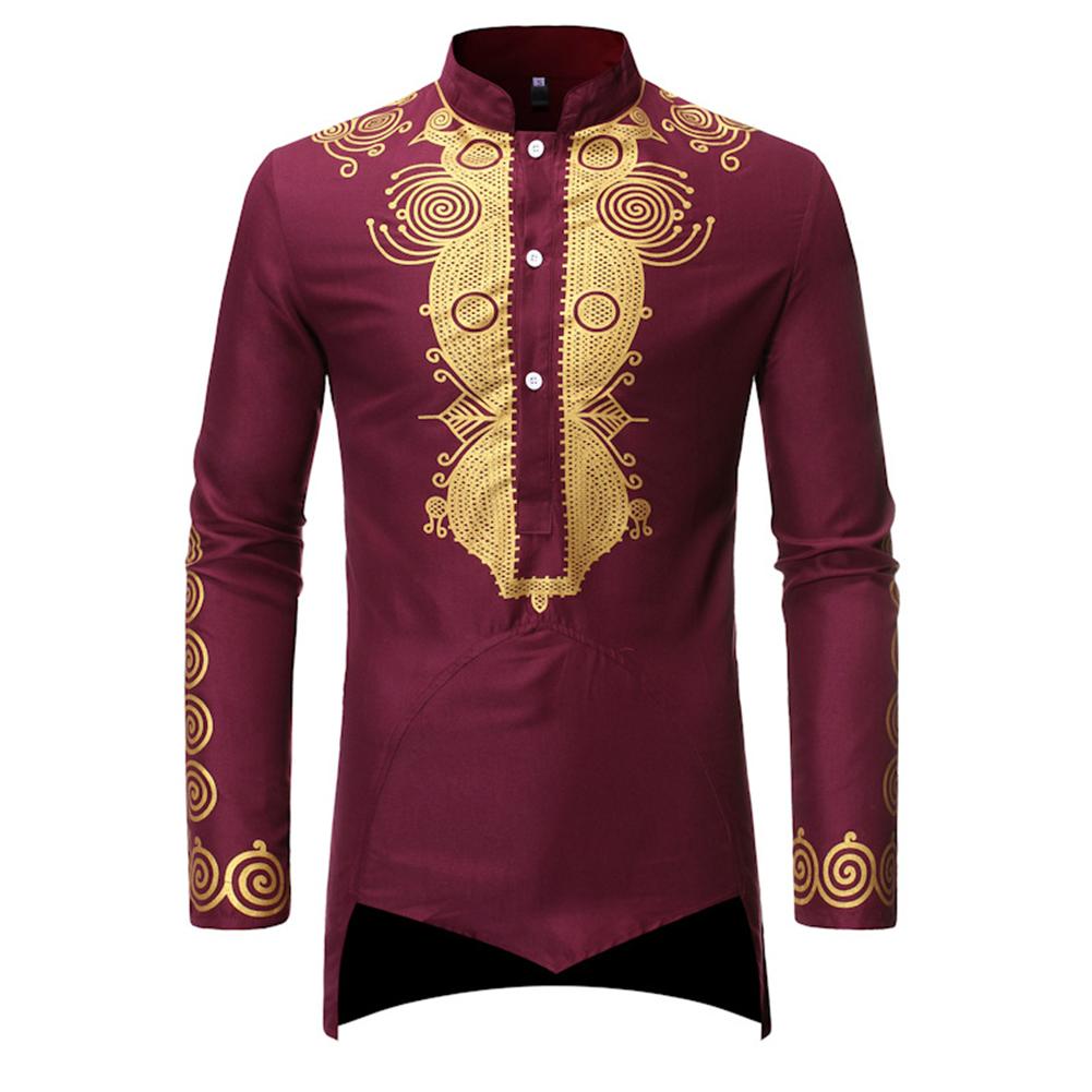 Men Long Sleeve Shirts Gilding Pattern Stand Collar Slim Shirts  Red wine_L