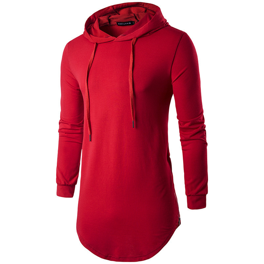 Unisex Fashion Hoodies Pure Color Long-sleeved T-shirt red_L