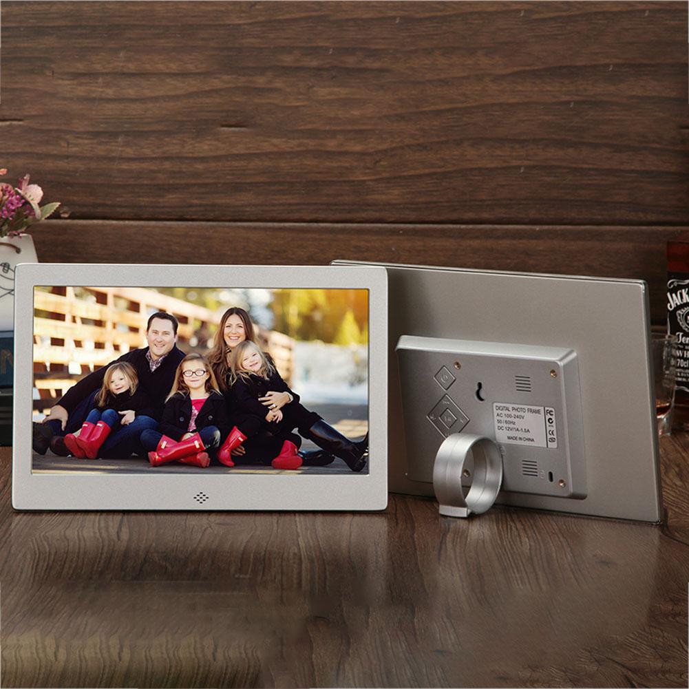 10 Inch Metal LED Digital Photo Frame Video Music Calendar Clock Player 1024x600 Resolution  109 Silver US plug