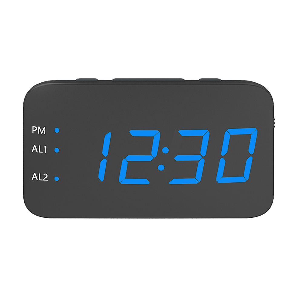 Digital LED Alarm Clock Large Mirrored Display Snooze Function Beside Clock for Bedroom Decor  blue