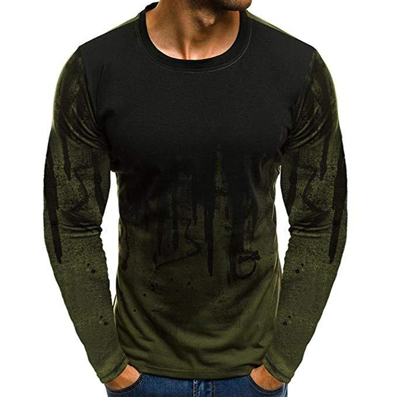 Men Simple Casual Gradient Long-Sleeve Basic T-Shirts Fitness Gym T-Shirt Tops Army Green_L