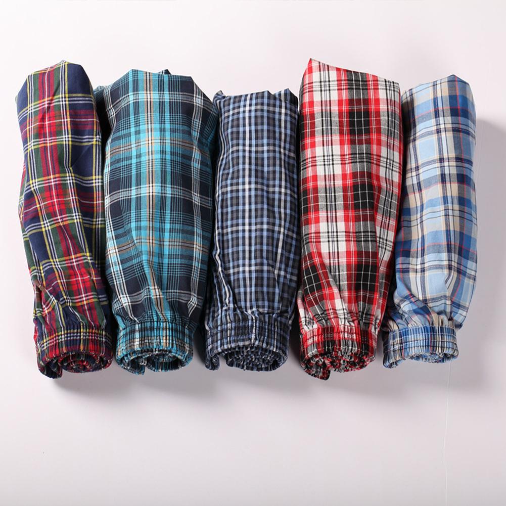 Men Cotton Plaid Printing Loose Boxer Shorts Pyjamas for Home Wear Random Style random color_XXXL