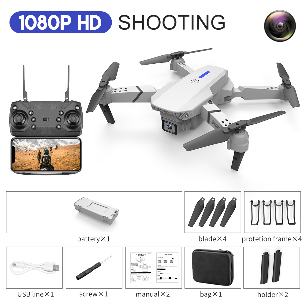 LS-E525 Drone 4k RC Drone Quadcopter Foldable Toys Drone with Camera HD 4K WIFi FPV Drones One Click Back Mini Drone Single lens 1080P storage package white