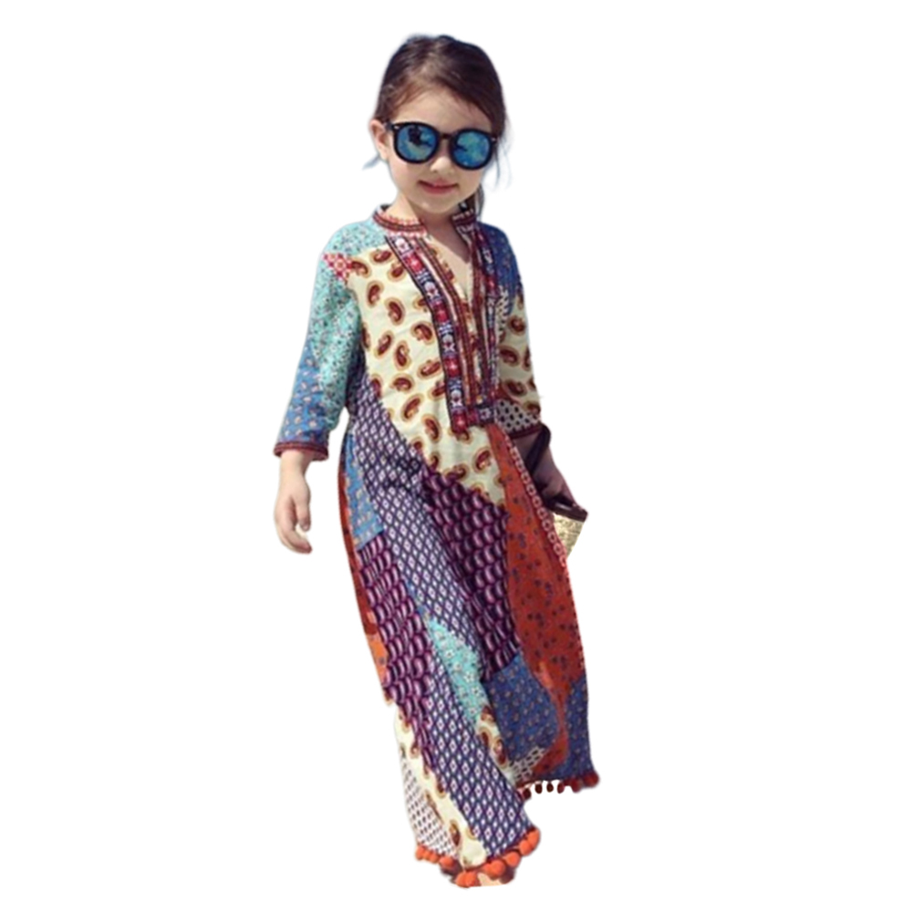 Mom and Girl kid Suits Dress Bohemian Seven-Sleeve Long Skirt for Travel  orange_110(4-5Y)