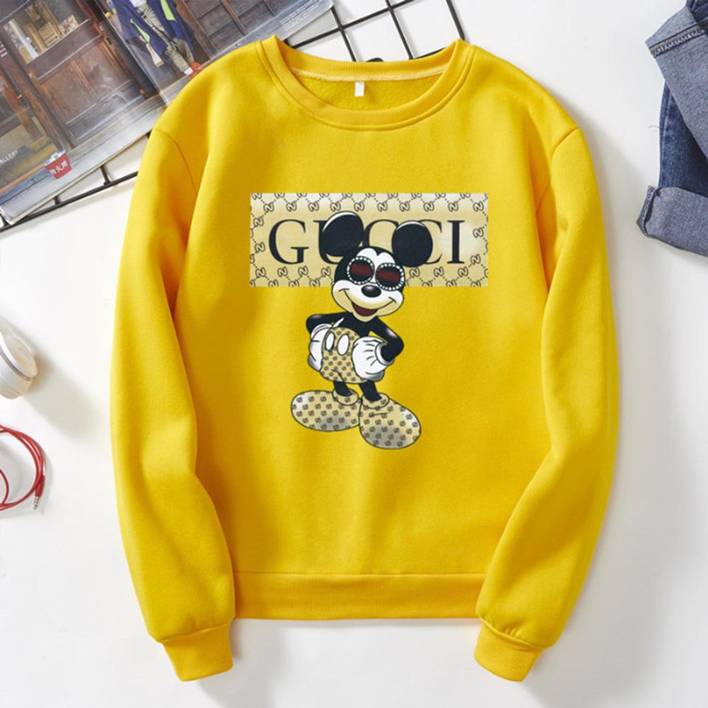 Men Cartoon Sweatshirt Micky Mouse Autumn Winter Loose Student Couple Wear Pullover Yellow_3XL