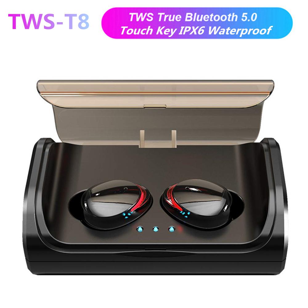 TWS-T8 Bluetooth 5.0 Sport Headset Wireless Bluetooth Earphones IPX7 Waterproof HIFI Sport Stereo Headset for Smartphone black
