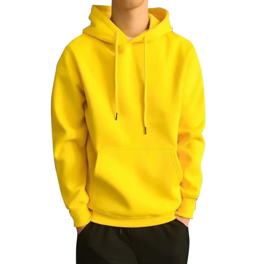 Men Kangaroo Pocket Plain-Colour Sweaters Hoodies for Winter Sports Casual  yellow_L