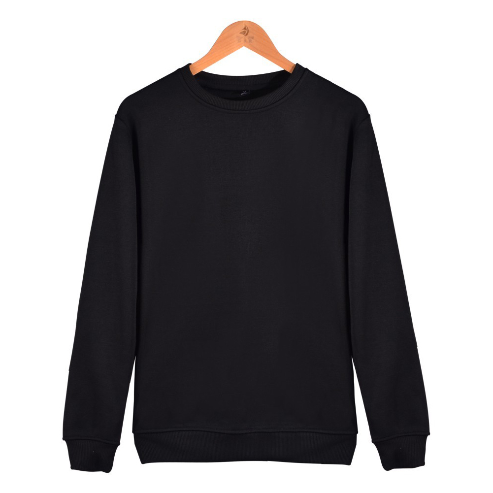 Men Solid Color Round Neck Long Sleeve Sweater Winter Warm Coat Tops black_XXXL