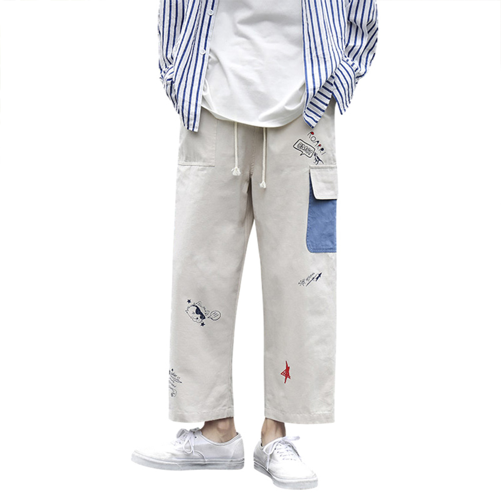 Men's Overalls Summer Loose Printing Straight Ankle-length Trousers Beige _XXL