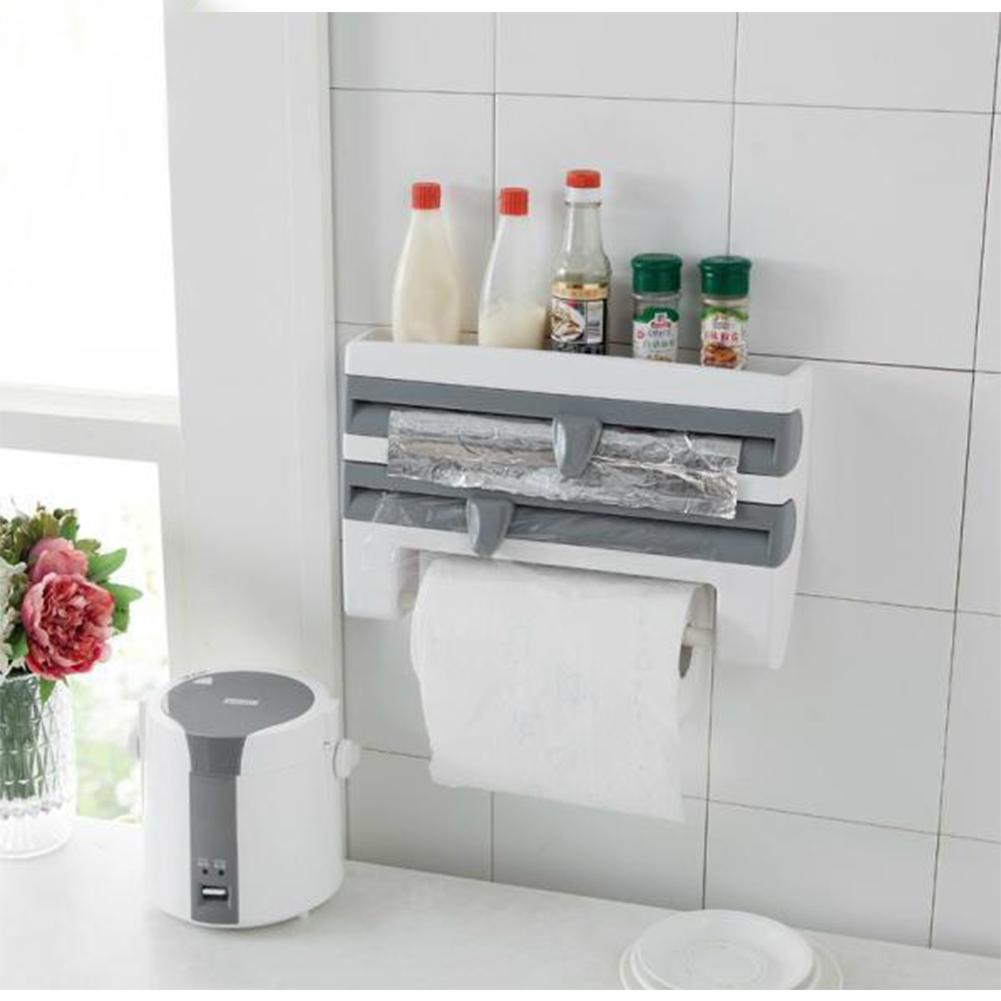 Refrigerator Cling Film Storage Rack Wrap Cutter Wall Hanging Paper Towel Holder Kitchen Organizer Gray-blue_39*10*24cm