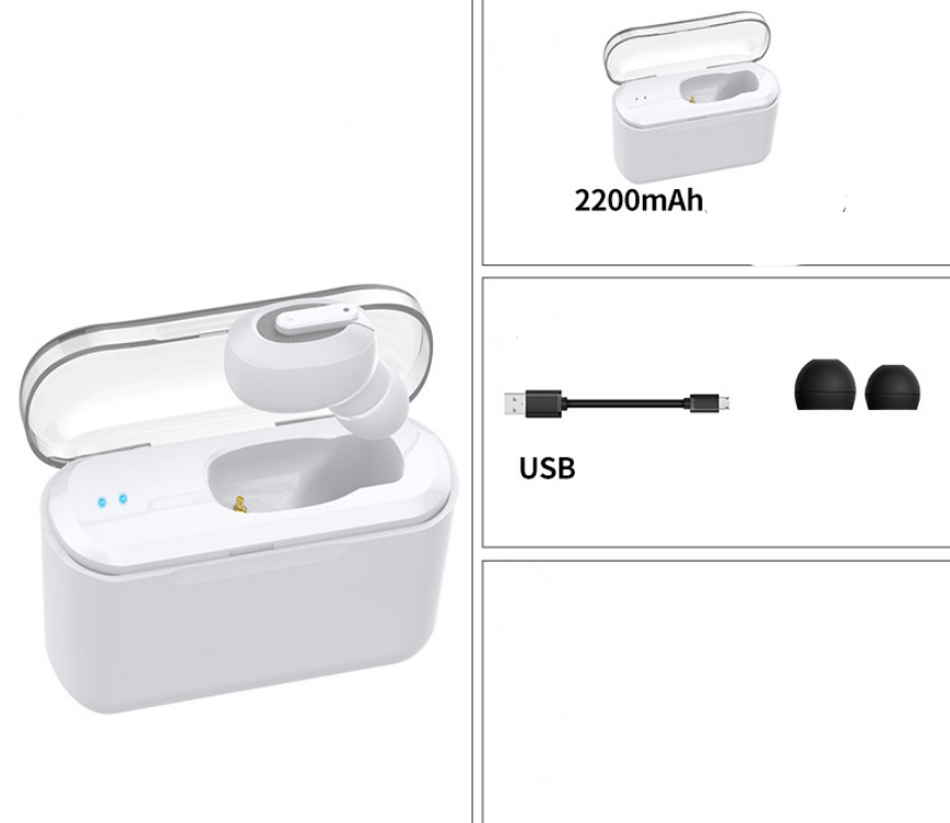 Wireless Bluetooth Stereo Earphone In-Ear Invisible Portable Headsets  2200 mAh charging bin + white headphones