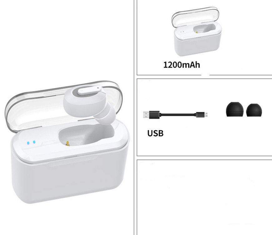 Wireless Bluetooth Stereo Earphone In-Ear Invisible Portable Headsets  1200 mAh charging bin + white headphones