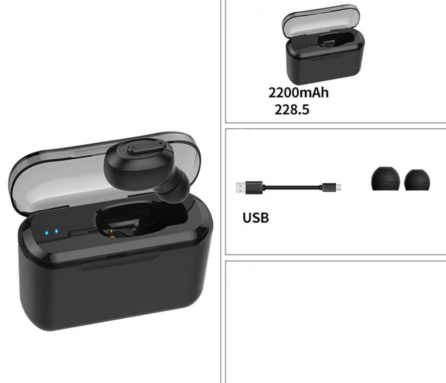 Wireless Bluetooth Stereo Earphone In-Ear Invisible Portable Headsets  2200 mAh charging bin + black headphones