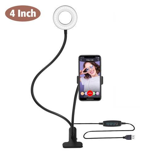 Led Light Ring for Selfie Lamp Ring Lamp Photography Lighting for Youtube Holder Camera Phone Clip Studio black_4 inches